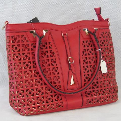 170 - Tote bag and removable matching handbag. Red, pierce detailing to front, two handles, zip closure, i...
