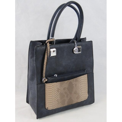 177 - Handbag with detachable purse. Navy with brown python effect detail, two handles, zip closure, two i...