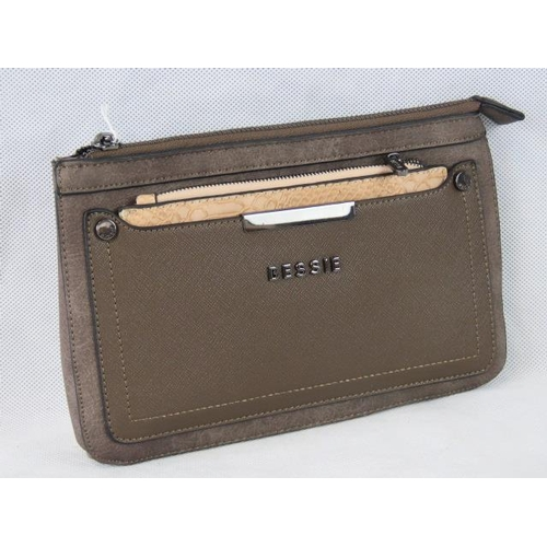 178 - Clutch bag. Brown with removable taupe python effect zip closure purse, zip closure, no internal poc...