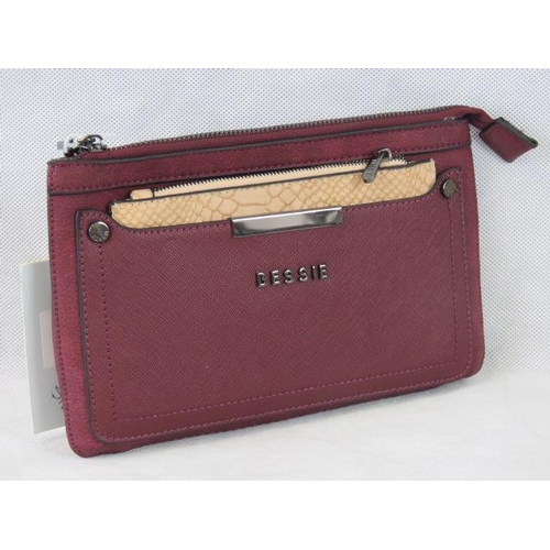 179 - Clutch bag. Burgundy with removable taupe python effect zip closure purse, zip closure, no internal ...