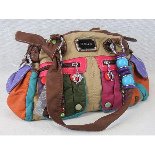 182 - Handbag. Multicolour with bead, button and coloured stone details, two handles, two zipped compartme...