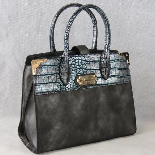 184 - Handbag. Grey with metallic crocodile effect detail, two handles, strap and zip closure, two interna...