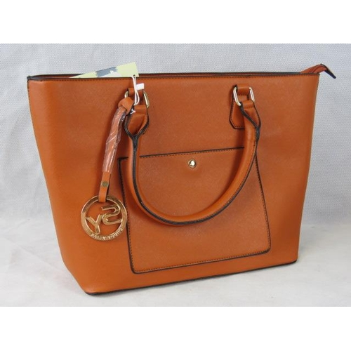 185 - Tote bag. Orange, two handles, zip closure, internal zip pocket and two internal open pockets, pocke...