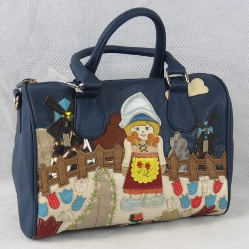 186 - Handbag. Navy with layered Dutch scene of girl, tulips and windmills, two handles, zip closure, two ...