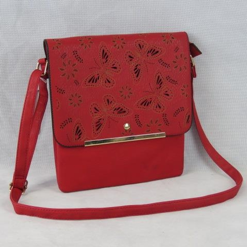 187 - Handbag. Red with pierced butterfly design, shoulder strap, popper and zip closure, three internal c...
