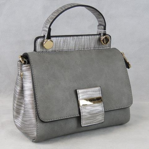 189 - Handbag. Grey with silver python effect detail to single handle, clasp and sides, popper and zip clo...