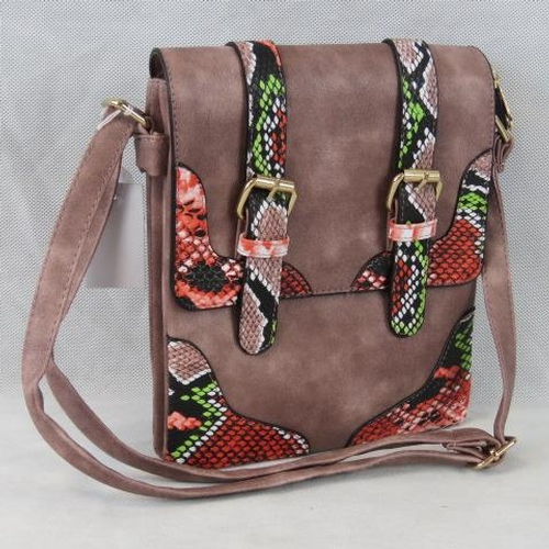 190 - Handbag. Dusky purple with coral python effect buckle details, shoulder strap, popper and zip closur...