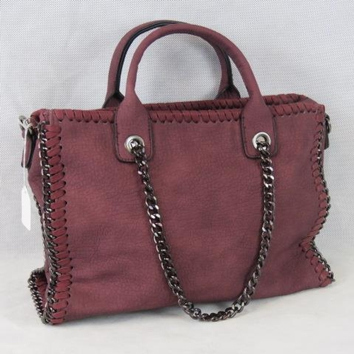 193 - Handbag. Red with black chain details, two handles, zip closure, two internal zip pockets and two in...