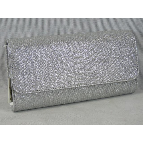 194 - Clutch bag. Silver glitter, popper closure, internal zip pocket, includes chain link shoulder strap,...