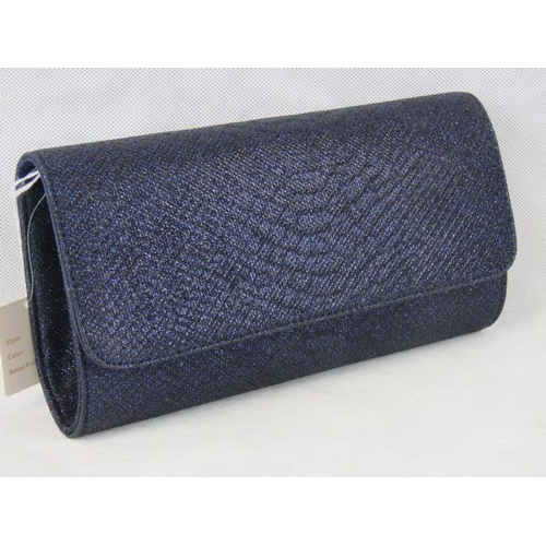 195 - Clutch bag. Navy glitter, popper closure, internal zip pocket, includes chain link shoulder strap, 2...