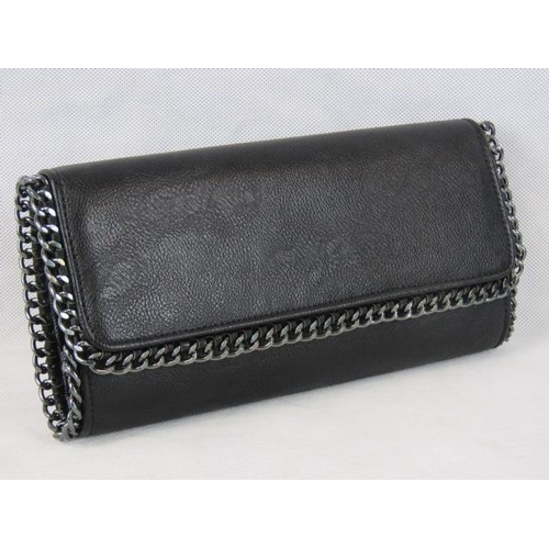 198 - Clutch bag. Black with black chain detail, double popper closure, two compartments, internal zip poc...