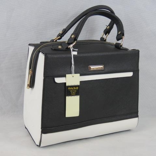 199 - Handbag. Black and white, two handles, zip closure, internal zip pocket and two internal open pocket...