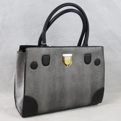 200 - Handbag. Metallic grey, two handles, zip closure, two internal zip pockets and two internal open poc...