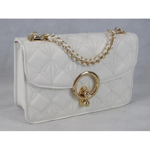 202 - Handbag. White with chain and ribbon single handle, clasp closure, internal zip pocket and internal ...