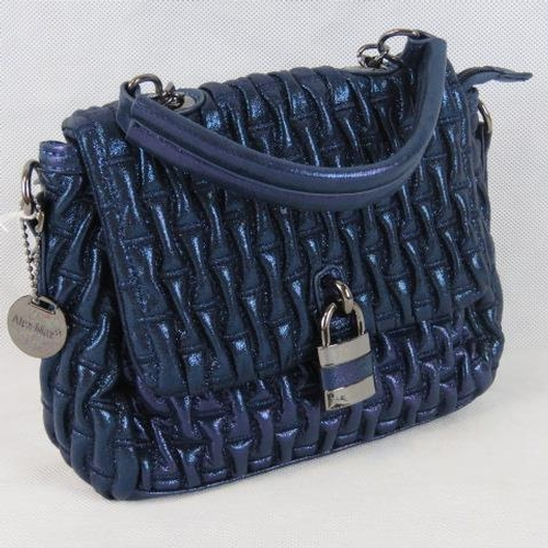 204 - Handbag. Navy glitter, single handle, popper and zip closure, internal zip pocket and two internal o...