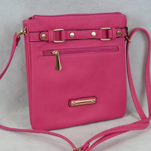 206 - Handbag. Hot pink, shoulder strap, zip closure, two compartments, one internal zip pocket and on int...