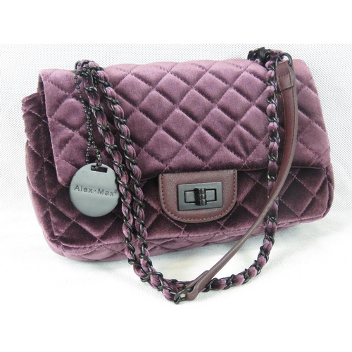 208 - Handbag. Purple velvet, clasp closure, two chain link handles, internal zip pocket, 26cm wide....