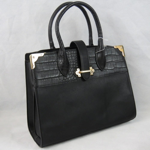 21 - Handbag. Black with crocodile effect border to top, two handles, strap and zip closure, two internal...