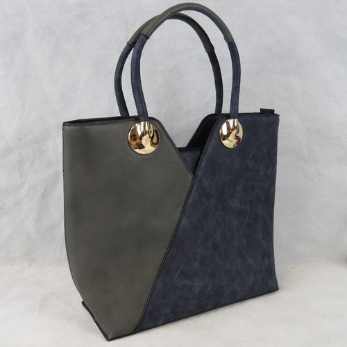 210 - Tote bag, Navy and metallic, two handles, zip closure, internal zip pocket and two open internal poc...