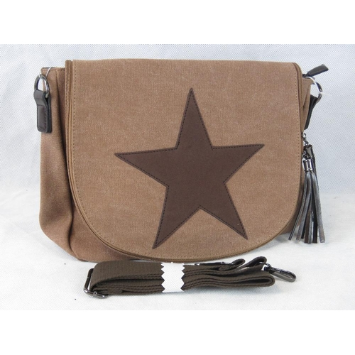 211 - Handbag. Brown canvas with star design, shoulder strap, zip closure, internal zip pocket and two int...