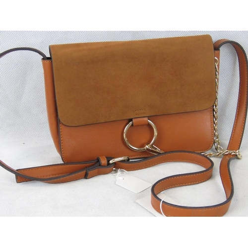 212 - Handbag. Tan with chain detail, shoulder strap, popper closure, three compartments, one internal ope...