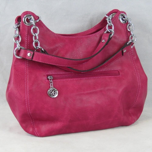 213 - Handbag. Hot pink, two handles, one zip closure compartment and two popper closure compartments, int...