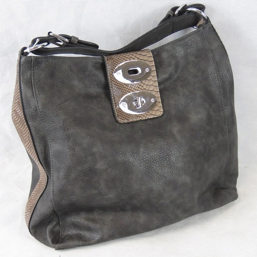 214 - Handbag. Grey with brown python effect clasp and edging, single handle, zip and clasp closure, two i...