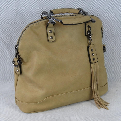 216 - Handbag. Beige with tassel detail, two handles, zip closure, two internal zip pockets and two intern...