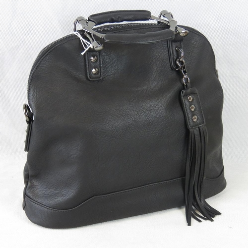 217 - Handbag. Black with tassel detail, two handles, zip closure, two internal zip pockets and two intern...