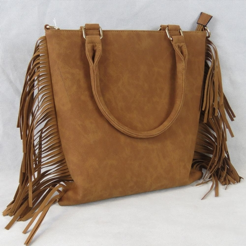 218 - Handbag. Tan with tassel details, zip closure, internal zip pocket two internal open pockets, zip po...
