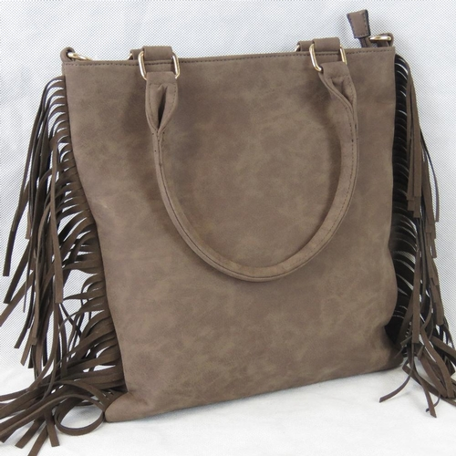 219 - Handbag. Brown with tassel details, zip closure, internal zip pocket two internal open pockets, zip ...