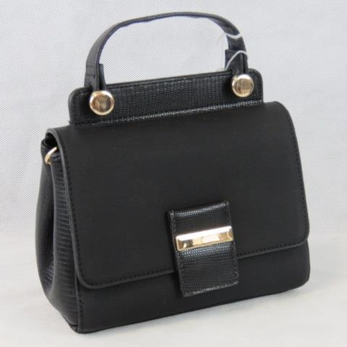 225 - Handbag. Black with python effect detail to single handle, clasp and sides, popper and zip closure, ...