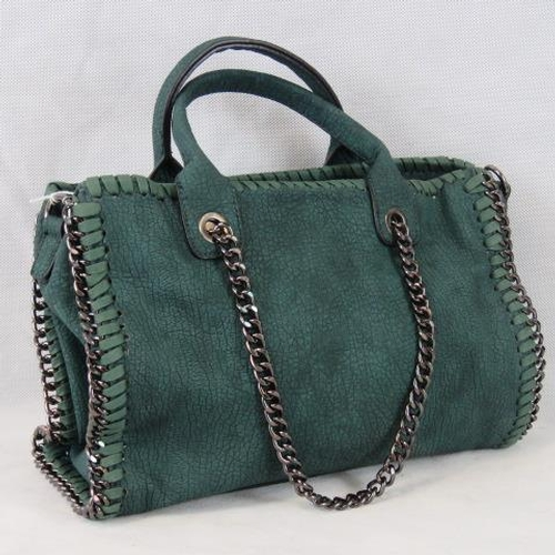 227 - Handbag. Green with black chain details, two handles, zip closure, two internal zip pockets and two ...