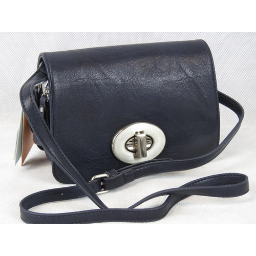 228 - Handbag. Navy, shoulder strap, clasp closure, two zipped compartments, internal zip pocket and inter...