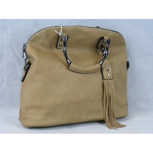 229 - Handbag. Beige with tassel detail, two handles, zip closure, two internal zip pockets and two intern...