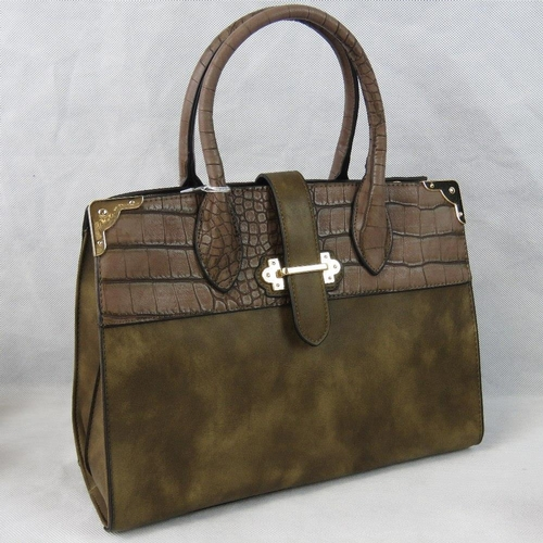 23 - Handbag. Brown with crocodile effect border to top, two handles, strap and zip closure, two internal...
