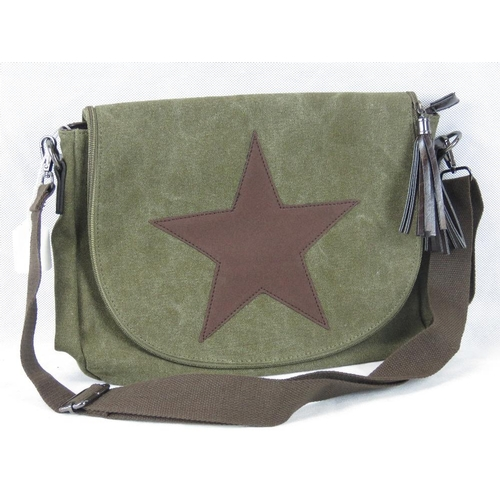 230 - Handbag. Green canvas with star design, shoulder strap, zip closure, internal zip pocket and two int...
