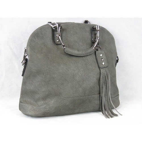 232 - Handbag. Grey with tassel detail, two handles, zip closure, two internal zip pockets and two interna...