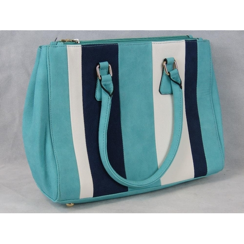 235 - Handbag. Striped Turquoise, navy and white, two handles, three zipped compartments, internal zip poc...