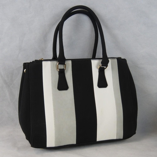 236 - Handbag. Striped Black, grey and white, two handles, three zipped compartments, internal zip pocket ...