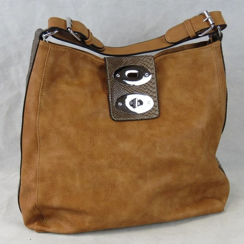244 - Handbag. Tan with brown python effect clasp and edging, single handle, zip and clasp closure, two in...