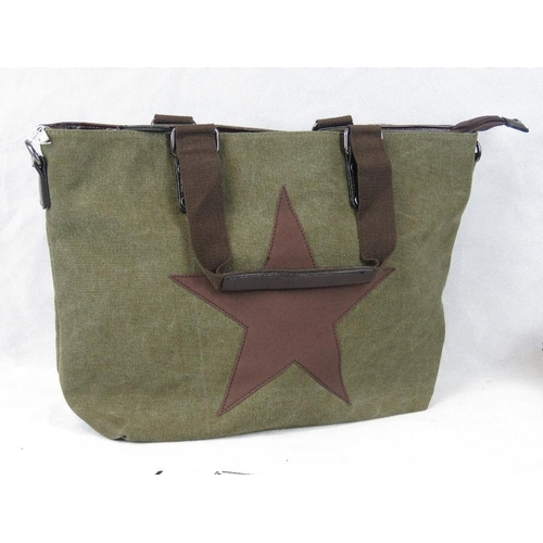 248 - Tote bag. Green canvas with brown straps and star detail, two handles, zip closure, internal zip poc...