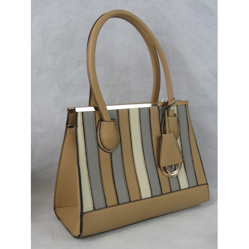 25 - Handbag. Tan and Grey, two handles, zip closure, luggage tag detail, internal zip pocket and two int...