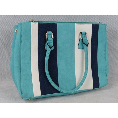 252 - Handbag. Striped Turquoise, navy and white, two handles, three zipped compartments, internal zip poc...