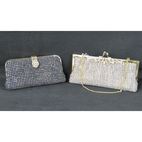 254 - Evening bags. Two evening bags; one encrusted with white stones, clasp closure, internal open pocket...