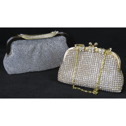 255 - Evening bags. Two evening bags encrusted with white stones, each with clasp closure, internal open p...