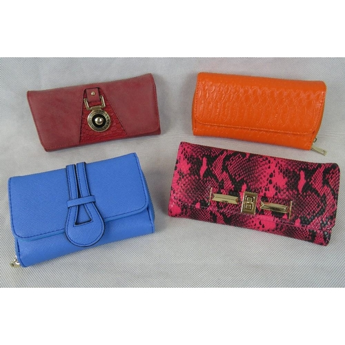 258 - Purses. Three purses; Pink and black python effect, orange crocodile effect, and red with crocodile ...