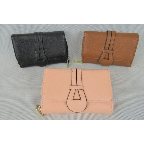 259 - Purses. Three purses; blue, pink, and black, each with popper closure, zipped two section compartmen...