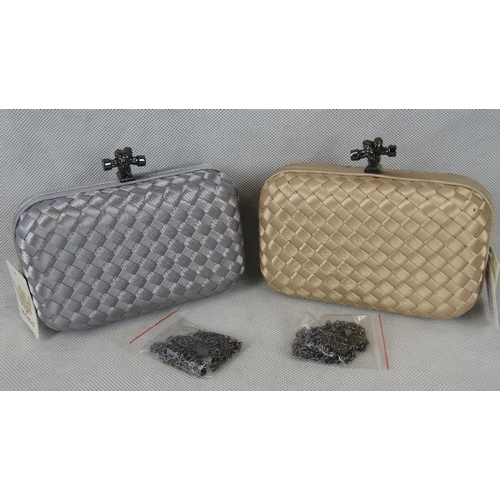 263 - Clutch purses. Two clutch purses; one silver and one gold, woven pattern, clasp closure, each includ...
