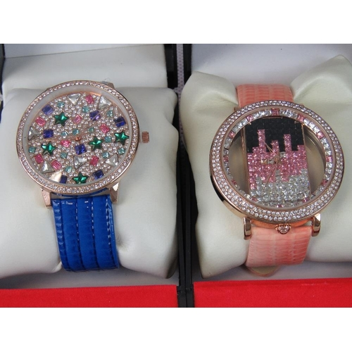 266 - Watches. Two bedazzled watches. One with blue crocodile effect strap and one with pink crocodile eff...